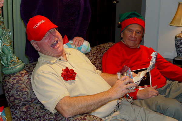 """Dirty Santa"" game - Christmas 2005 - Jules REALLY liked getting the reindeer that pooped jelly beans."