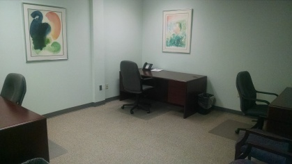 Available July 1! Nice large interior office for up to 4 people.